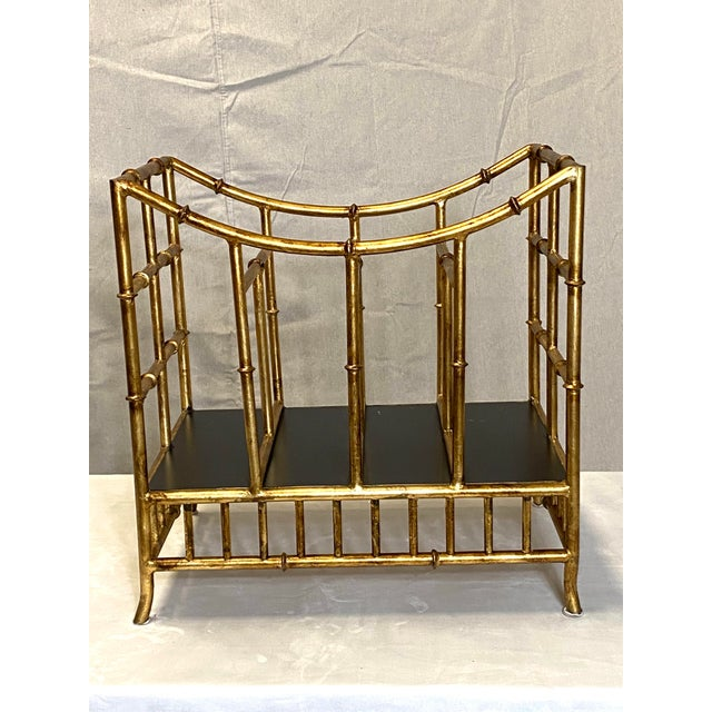Beautiful Vintage Gilt Gold Canterbury Magazine Rack Stand Asian Style Fabulous Very nice overall condition for age. No...