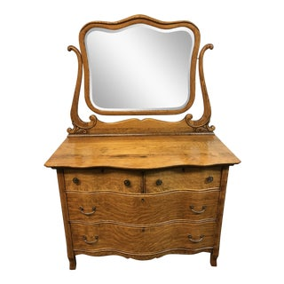 Vintage Oak Four Drawer Dresser With Mirror For Sale