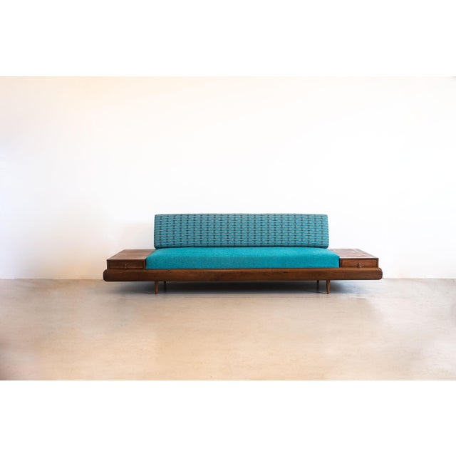 Stunning Adrian Pearsall for Craft Associates extra-long sofa with walnut side tables and front trim. The epitome of...