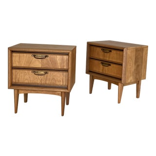 Mid Century 2-Drawer Walnut and Brass Nightstands - a Pair For Sale