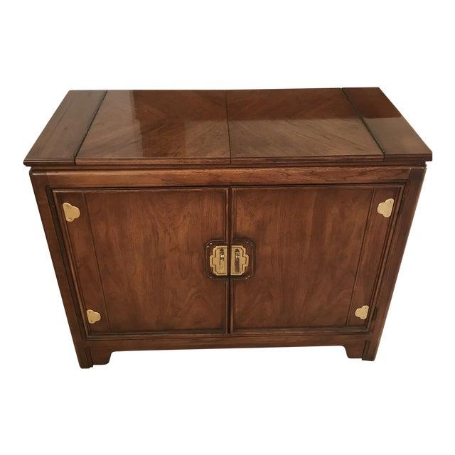 Thomasville Mystique Pecan Wood Butler Cabinet With Castors For Sale