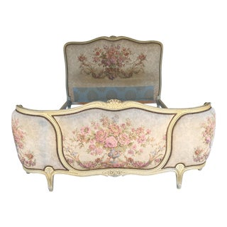 Vintage Louie XV Style French Provincial Bow Front Double Bed
