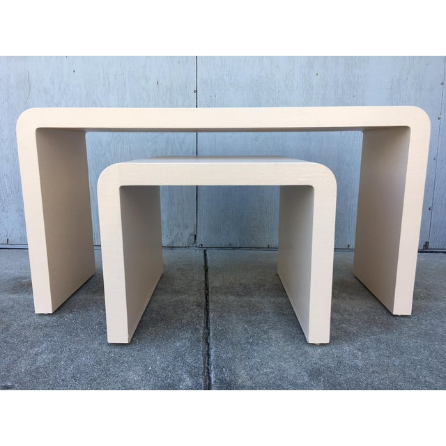 Modernist Waterfall Lacquered Linen Console and Side Table For Sale - Image 9 of 12