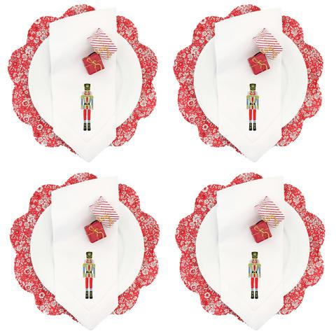 Liberty of London Red Floral Scalloped Placemats and Nutcracker Dinner Napkins - Service for 4 For Sale In Dallas - Image 6 of 6