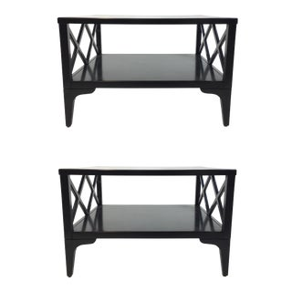 Caracole Modern Black Wood Lattice Bunching Cocktail Tables Pair For Sale