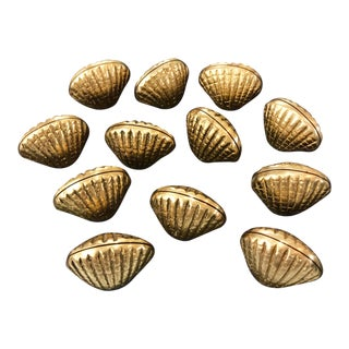 1900s Vintage Nautical Solid Brass Clamshell Place Card Holders - Set of 12 For Sale