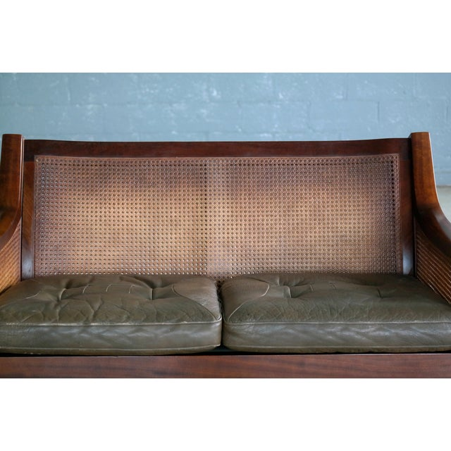 Torbjørn Afdal Settee in Olive Colored Leather and Woven Cane for Bruksbo, 1960s For Sale - Image 10 of 13