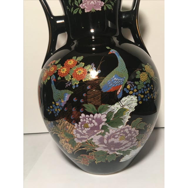Black Chinoiserie Vase With Peacock Motif - Image 3 of 7