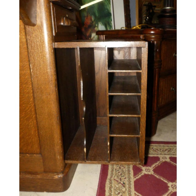 Brown Solid Oak Rolltop Desk With Roll Front Hutch For Sale - Image 8 of 12
