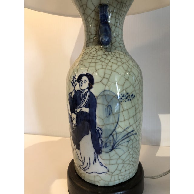 Chinese Export Blue and White Porcelain Vase Table Lamp For Sale - Image 4 of 6