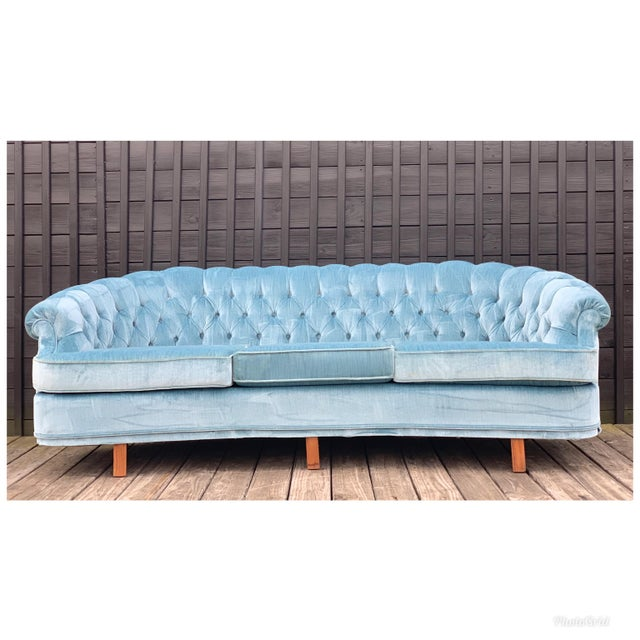 Mid Century Modern Sky Tufted Blue Chesterfield For Sale - Image 13 of 13