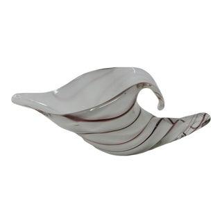 Hand-Blown Art Glass Cornucopia in White and Lavender For Sale