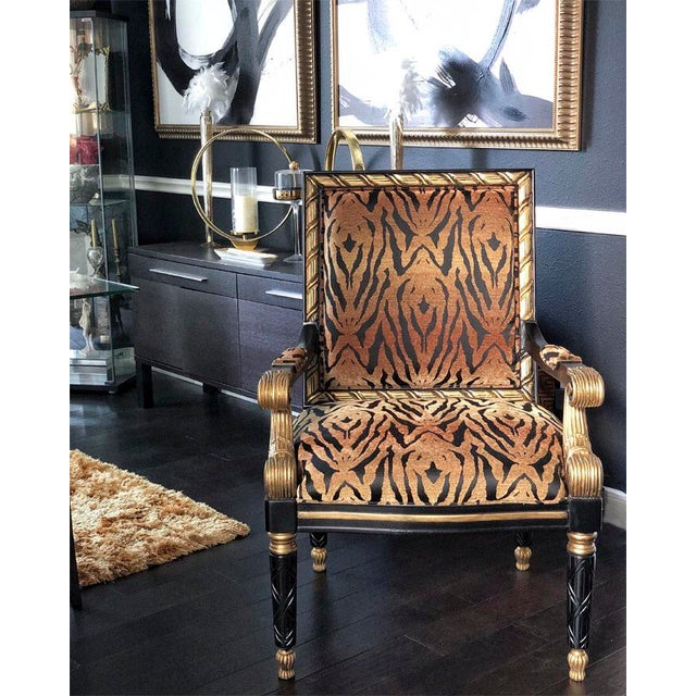 Gold Tiger Pattern Empire Style Chair For Sale - Image 8 of 8