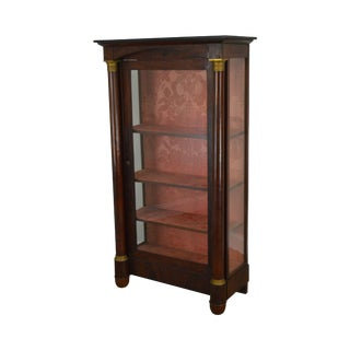 19th Century Antique Empire Mahogany Column Front Bookcase China Cabinet For Sale
