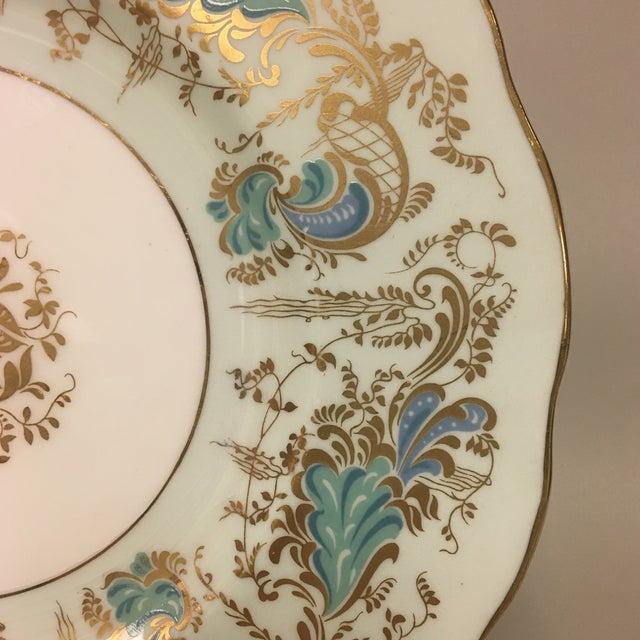 Hollywood Regency Royal Cauldon Gainsborough Teal Green Salad Dessert Plates Set 10 For Sale - Image 3 of 5