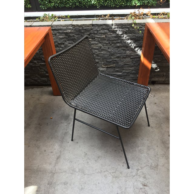 Modern Black Woven Outdoor Dining Chairs - Set of 4 - Image 5 of 8