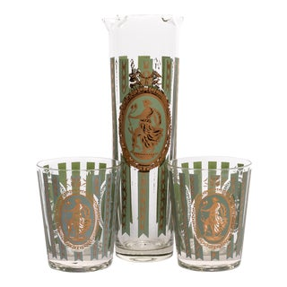 Green and Brass Striped Cocktail Set - 3 Piece Set For Sale