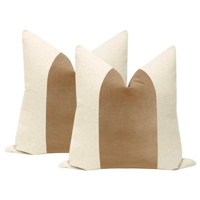 """2010s 22"""" Nutmeg Velvet Panel & Linen Pillows - a Pair For Sale - Image 5 of 5"""