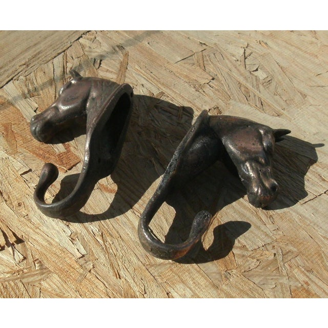 Figurative Vintage Metal Horse Head Wall Hooks - a Pair For Sale - Image 3 of 12