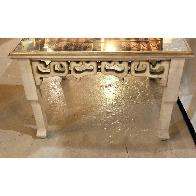 Distressed Mirror Glass Top Squared Asian Style End Tables Stamped Jansen, Pair For Sale - Image 10 of 13