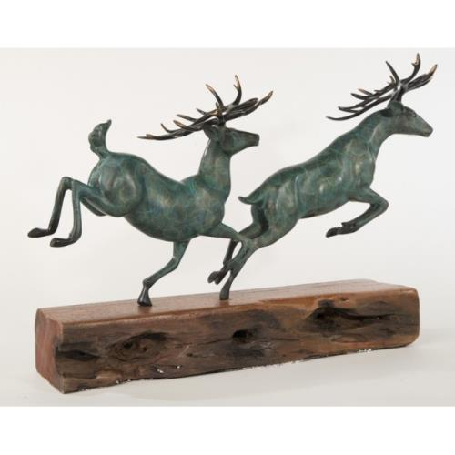 Green Two Running Stag Reindeer Bronze Statue For Sale - Image 8 of 9