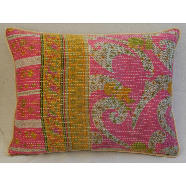 Vintage Kantha Textile Pillows - a Pair For Sale - Image 5 of 11