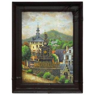Bohemian Oil Painting of Carlsbad by Bernatova For Sale