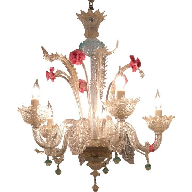 Superb Antique Venetian Glass 5 Lite Chandelier - Image 1 of 4