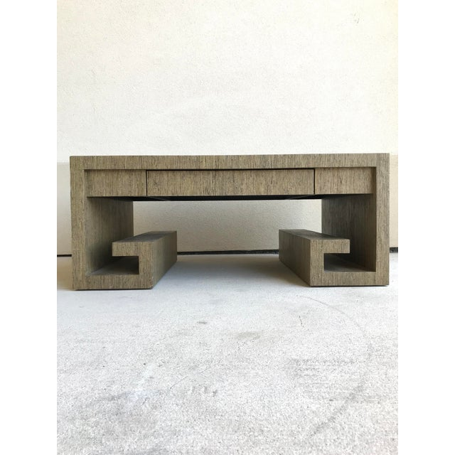 Grasscloth Greek Key Coffee Table For Sale - Image 13 of 13