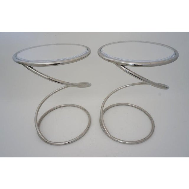 Vintage Leon Rosen for Pace Spring Coil Tables Nickel Plated With Lucite Tops - a Pair - from a Palm Beach estate. Last...