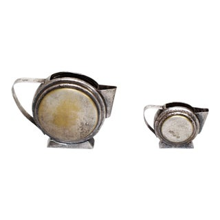Art Deco Silver Plated Two Piece Tea Set, Mexico For Sale