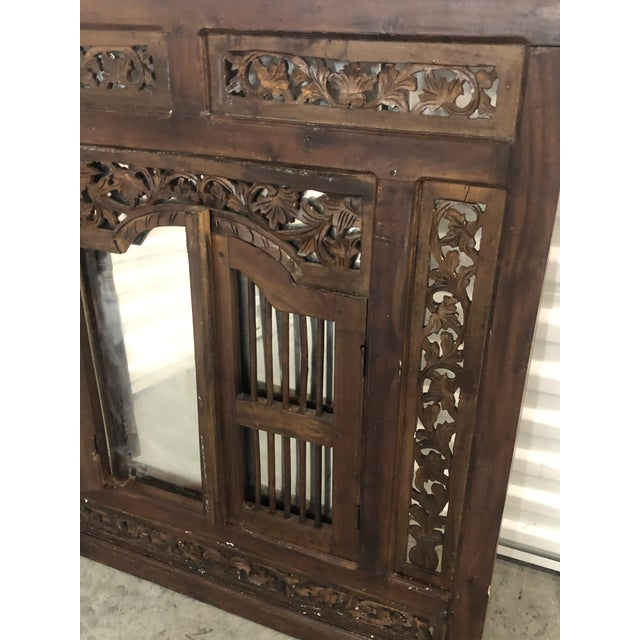 Wood Vintage Hand Carved Wood Indian Wall Mirror For Sale - Image 7 of 9