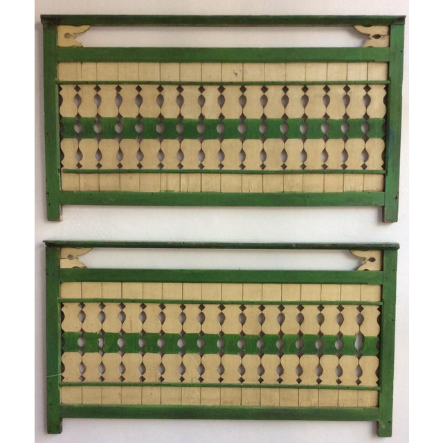 Green & Ivory Indonesian Wood Panels - A Pair - Image 2 of 6