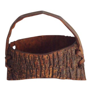 Early 20th Century Bark Covered Handmade Wood Wall Pocket For Sale