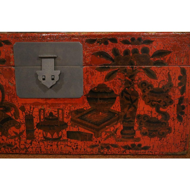 Late 19th Century Chinese Red Lacquer Painted Trunk For Sale - Image 5 of 9