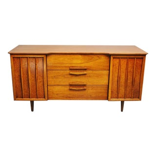 1960s Mid-Century Walnut Credenza Sideboard For Sale