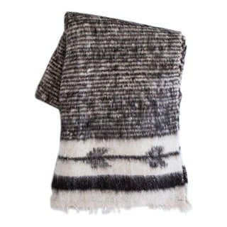 Black Striped Arrow Wool Blanket For Sale