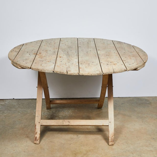 Late 19th Century Late 19th Century French Country Folding Champagne Table in Oak For Sale - Image 5 of 6