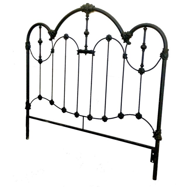 Vintage Wrought Iron Queen Headboard & Footboard - Image 4 of 10