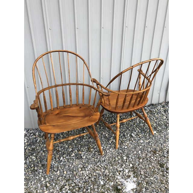 Modern Bench Made Hoop Back Windsor Armchairs- A Pair For Sale - Image 10 of 11