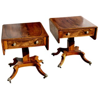 Pair of Mid-20th Century Rosewood Regency Style End Tables For Sale