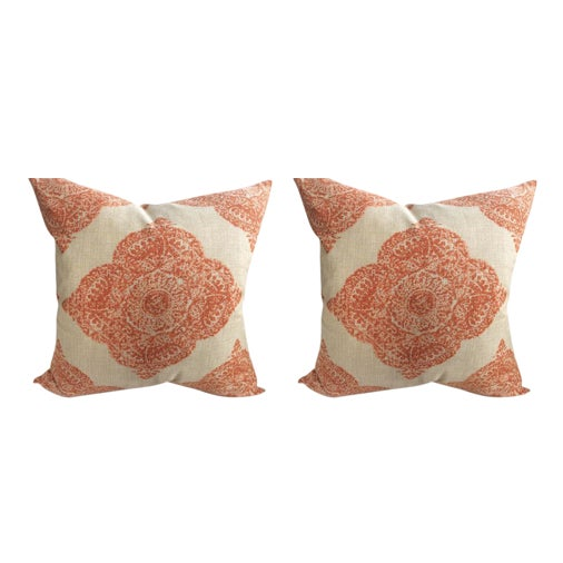 "John Robshaw ""Mani"" in Terracotta Woodblock Medallion Pillows - a Pair - Image 1 of 5"