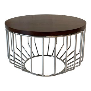 """Phase Design Wired 24"""" Complement Table in Polished Chrome Walnut For Sale"""