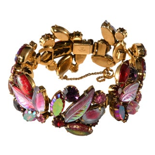 Kramer Leaf Fruit Salad Style Red Rhinestone Bracelet For Sale