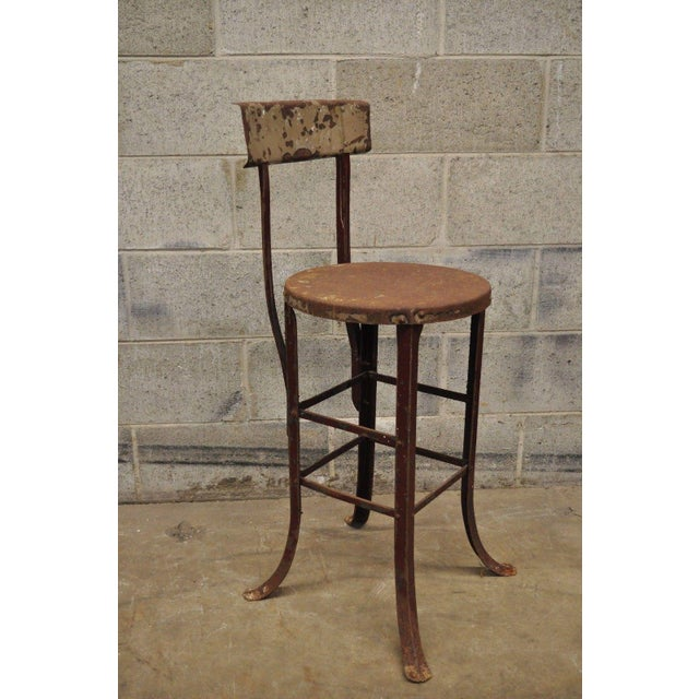 Antique Steel Metal Industrial Drafting Architect Work Stool For Sale - Image 11 of 12