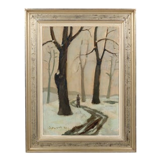 Impressionist Sparse Winter Forest Landscape With Figure For Sale