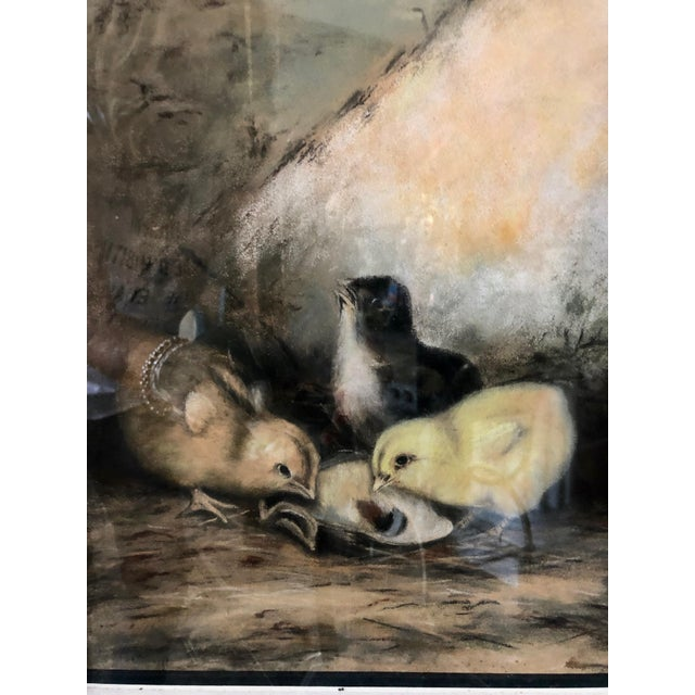 Traditional Early 20th Century Antique Original Framed & Matted Pastel Feeding Time for Three Chicks Painting For Sale - Image 3 of 8