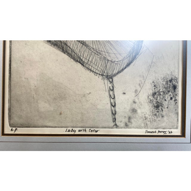 """1966 Vincent Perez Artist Proof """"Lady With Collar"""", Framed For Sale - Image 4 of 8"""