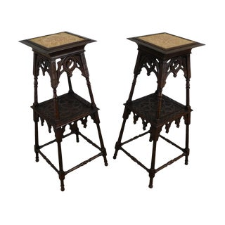 Gothic Style Vintage Pair Carved Two Tier Pedestals For Sale