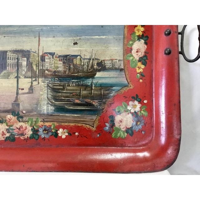 Metal 19th Century Tole Tray Featuring a Hand Painted Italian Scene For Sale - Image 7 of 13